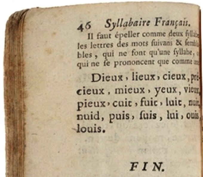 Le syllabaire de 1770 en 46 pages